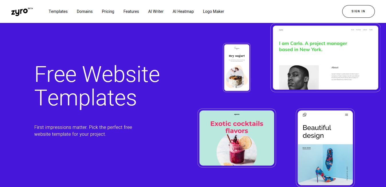 Zyro's landing page for free website templates