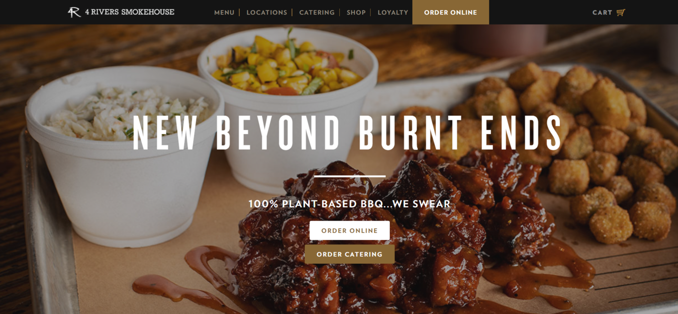 4 rivers smoke house restaurant website with option to cater or order online