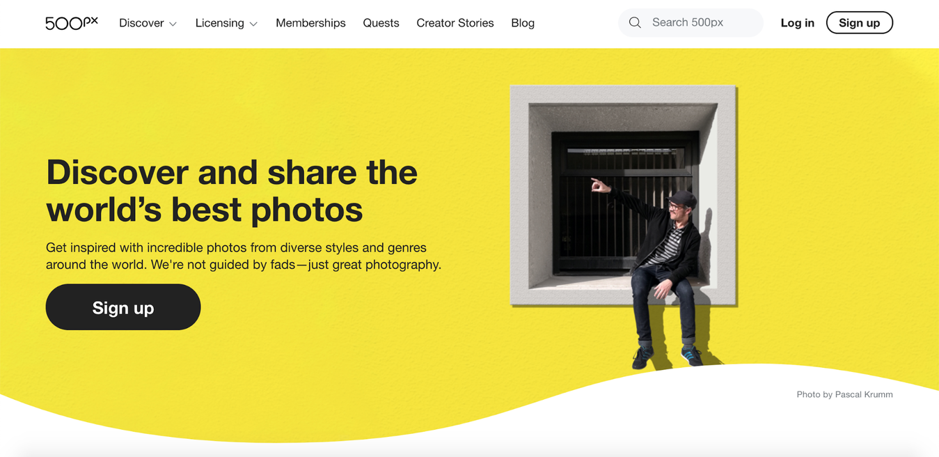 500px website landing page