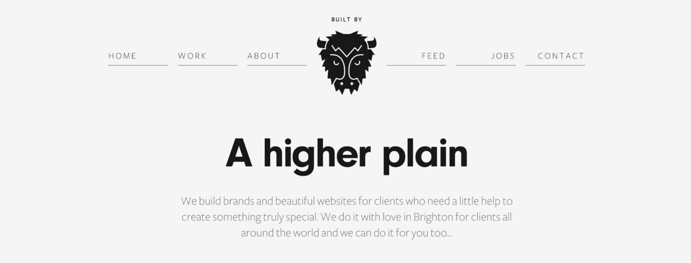 "Buffalo white website with black buffalo face and ""A higher plain"" written"