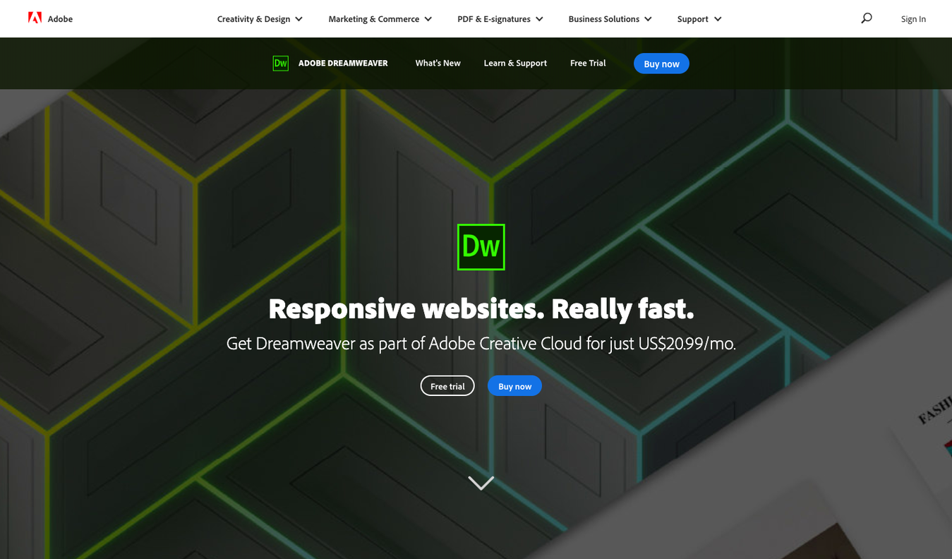 Adobe CC Dreamweaver landing page