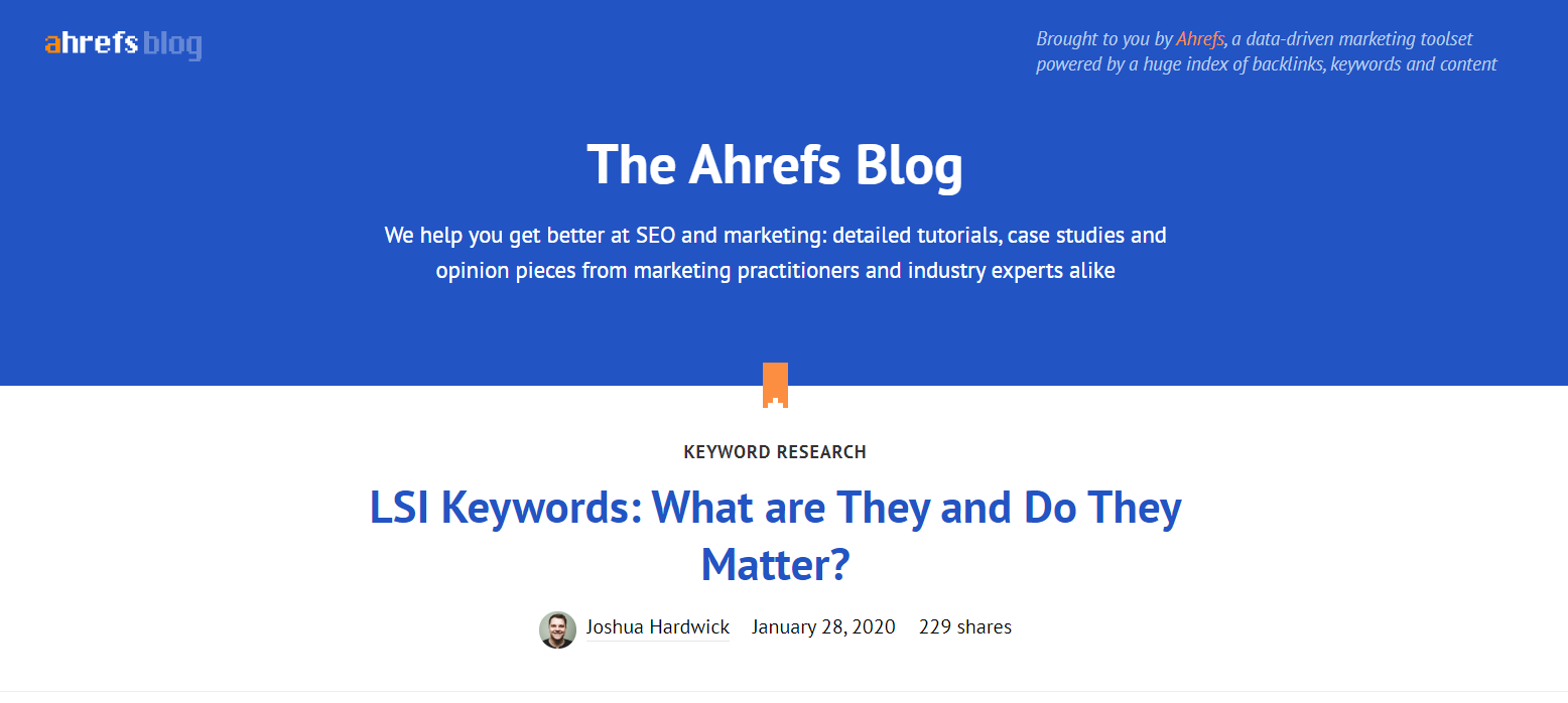 Ahrefs SEO blog front page.
