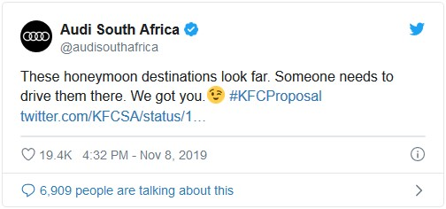 "Tweet from Audi South Africa saying ""These honeymoon destinations look far. Someone needs to drive them there. We got you."""