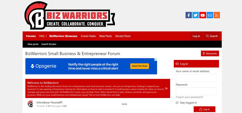 Strona logowania do serwisu Biz Warriors, który pomaga w obsłudze forów internetowych