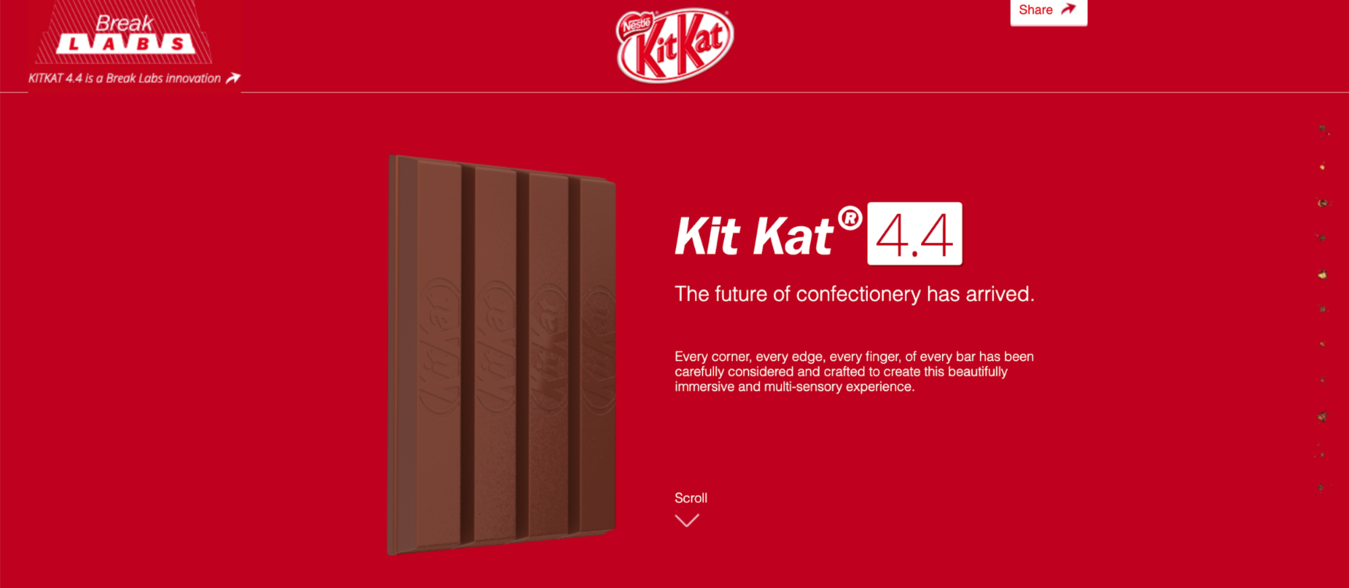 Kit Kat candy bar promotional one-page website example