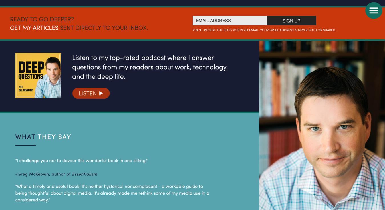 Cal Newport Personal Website Screenshot