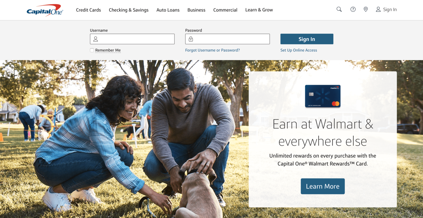 Conversion Rate Optimized Homepage by Capital One