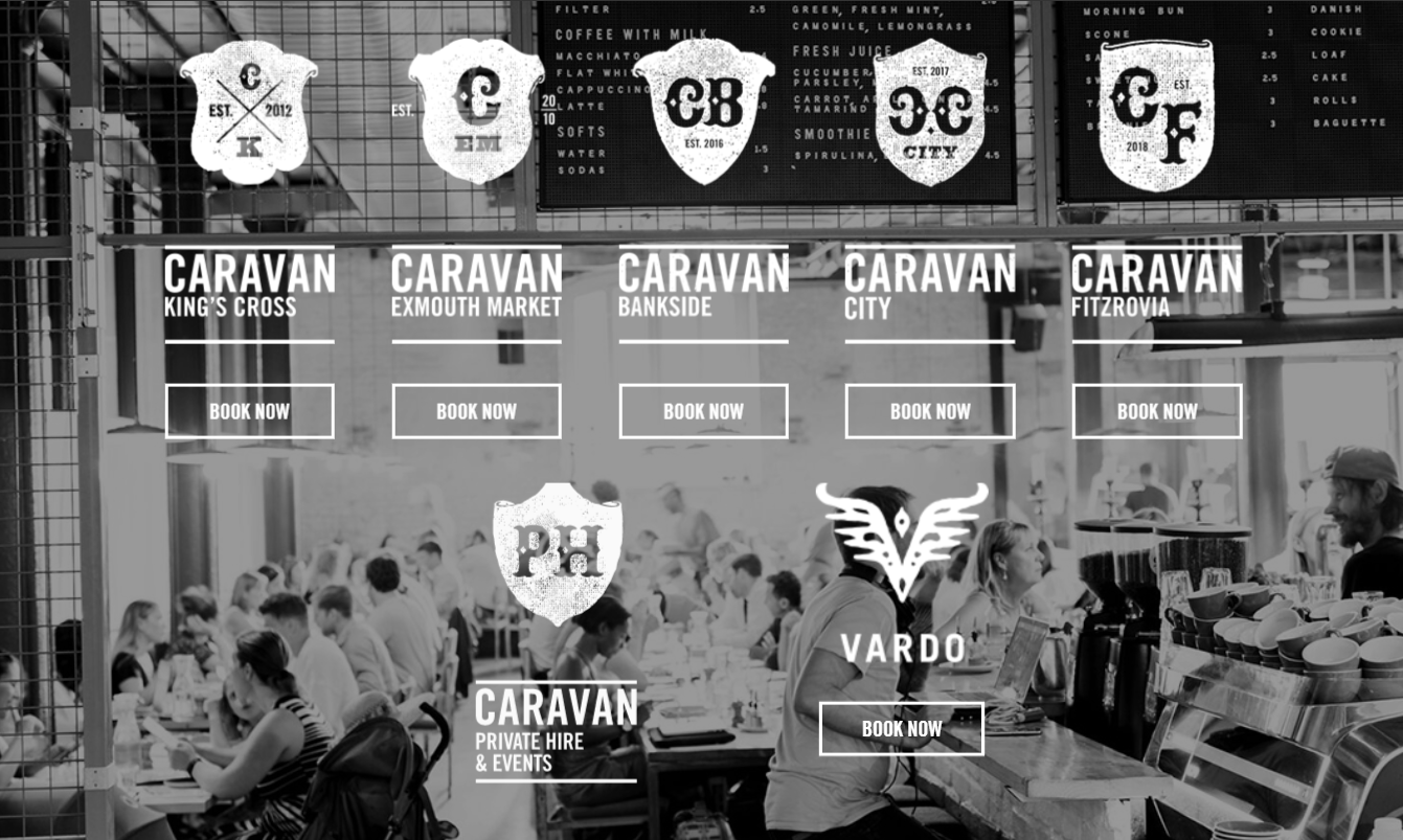 The Caravan website showing all the different locations they have