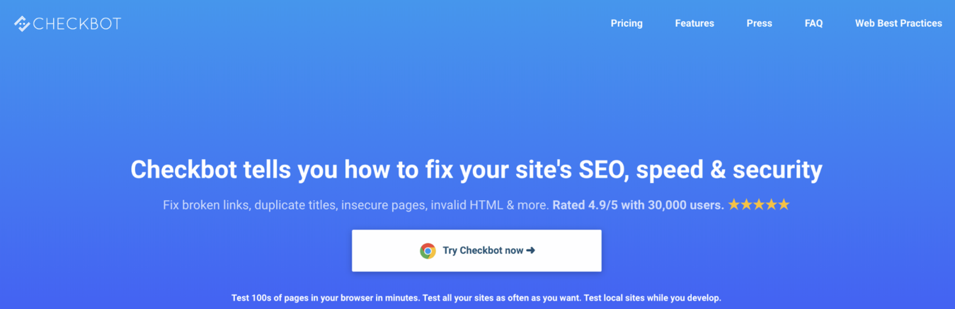 checkbots landing page to help with your sites small business SEO