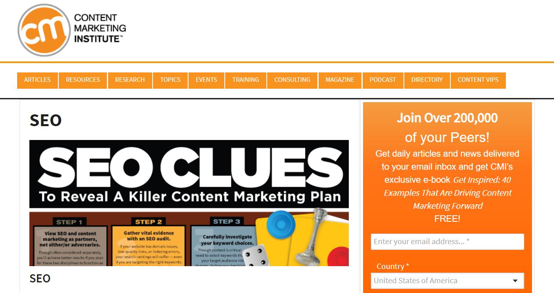 Content Management Institute homepage.