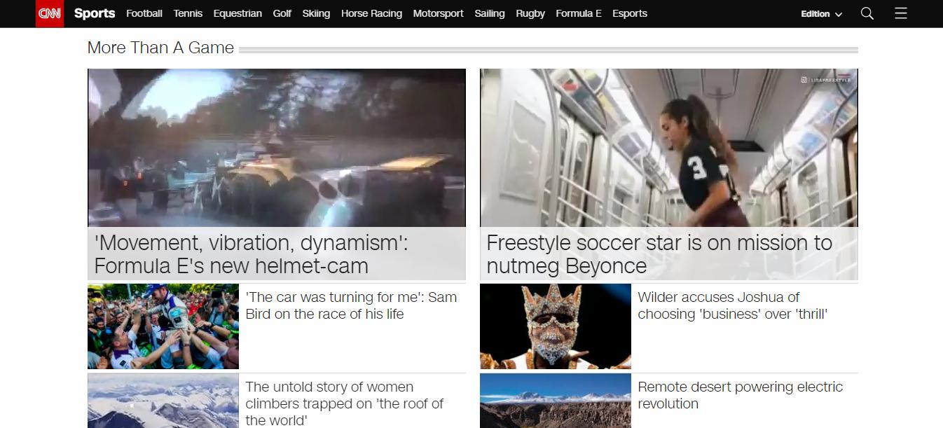 przykład strony internetowej cnn poświęconej tematyce sportowej