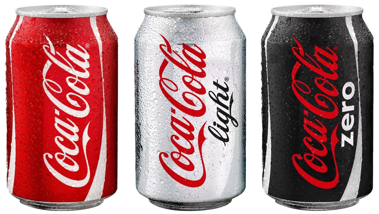 Coca-cola regular, light and zero