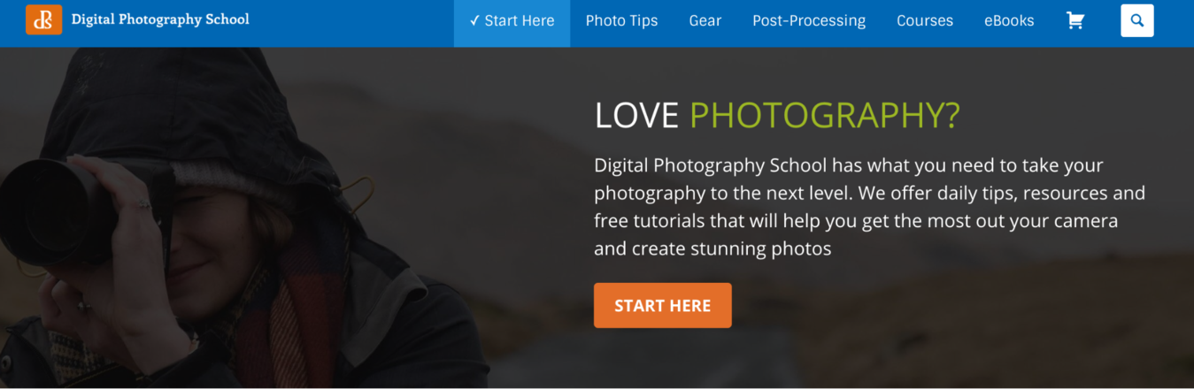 Digital Photography School's website with button to start here