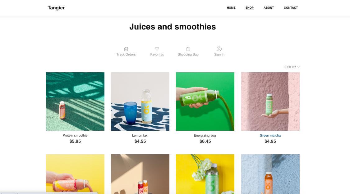 eCommerce website shop