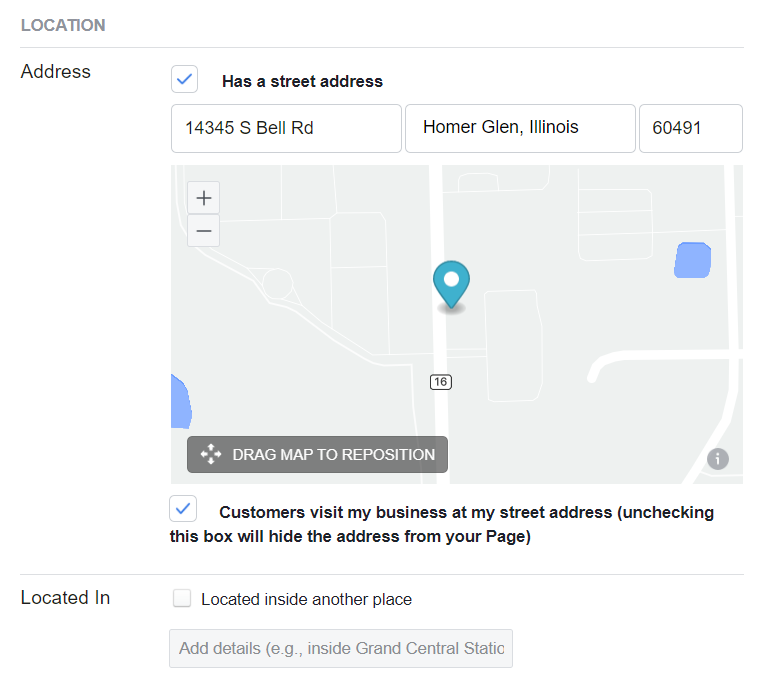 Facebook page location settings