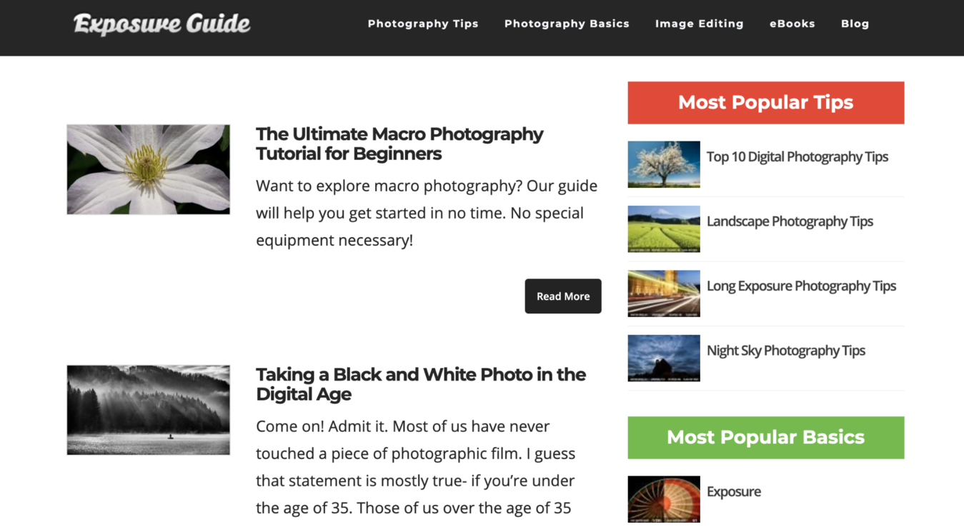 Exposure Guide photography blog