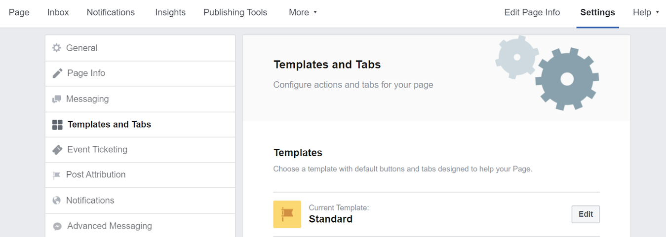 Facebook page templates and tabs settings section