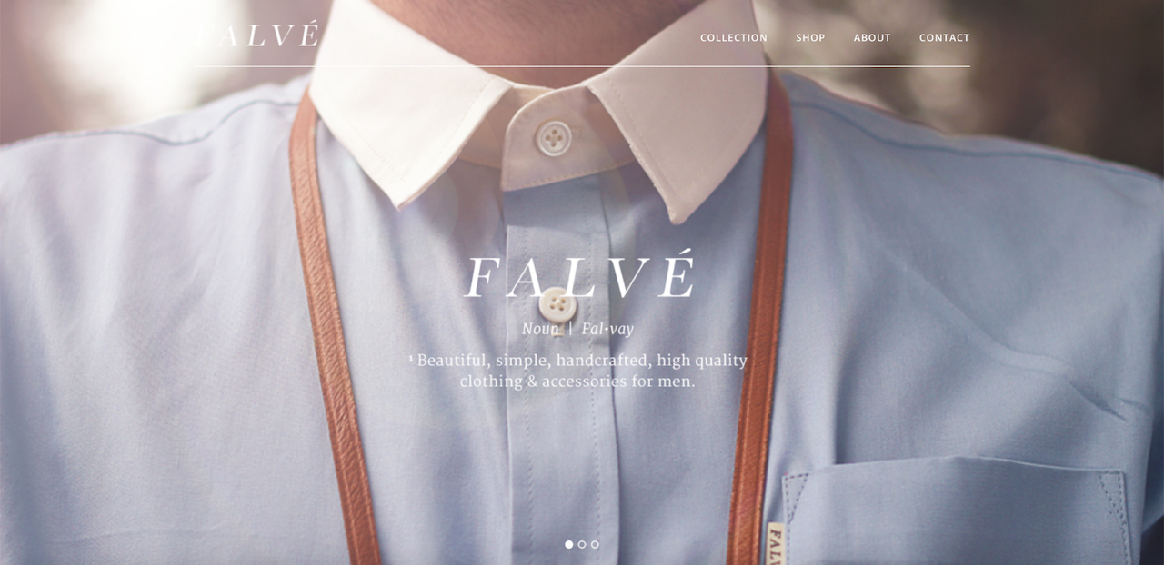 Falve website's homepage