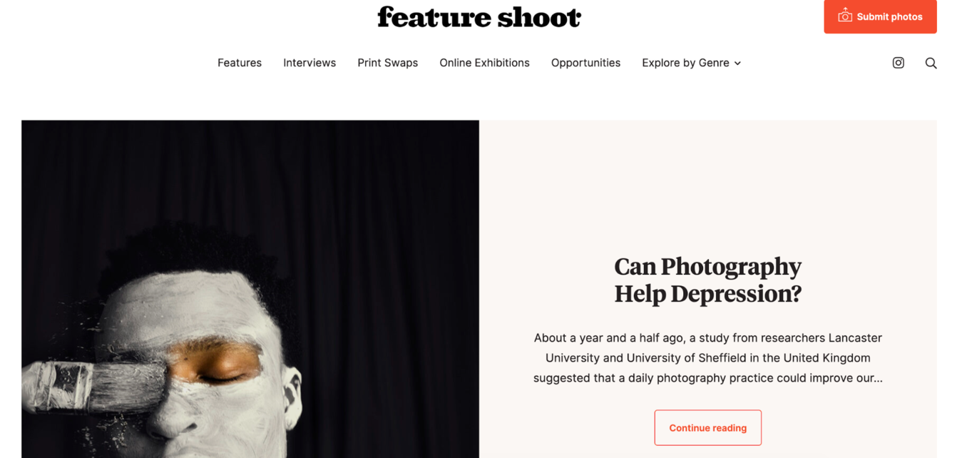Feature Shoot photo website exhibit