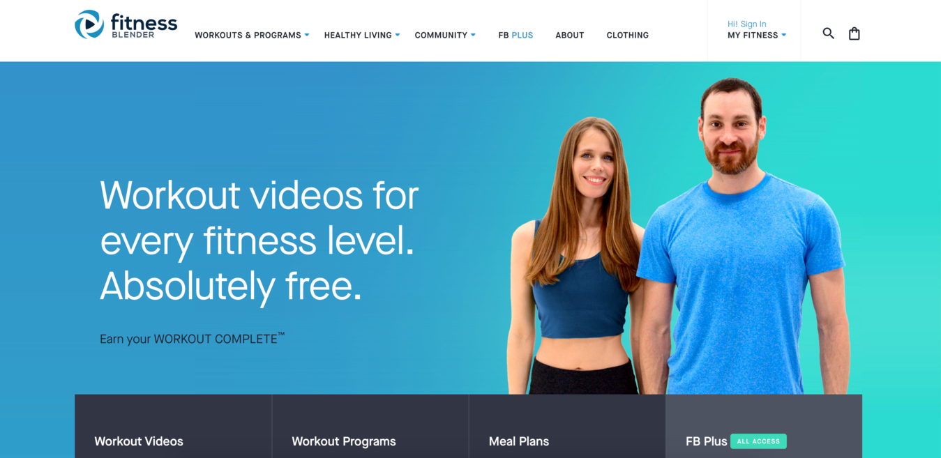 Screenshot der Fitnessblender  Website Startseite