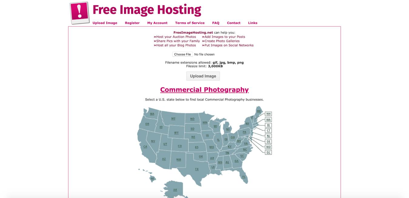 Free Image Hosting website landing page