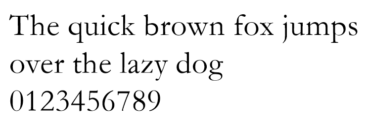 An example of the web safe font garmond