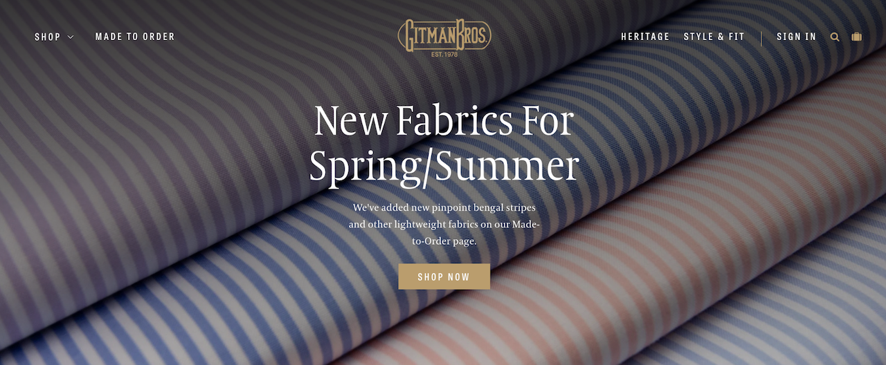 Gitman Bros small business website examples with fabric in the background