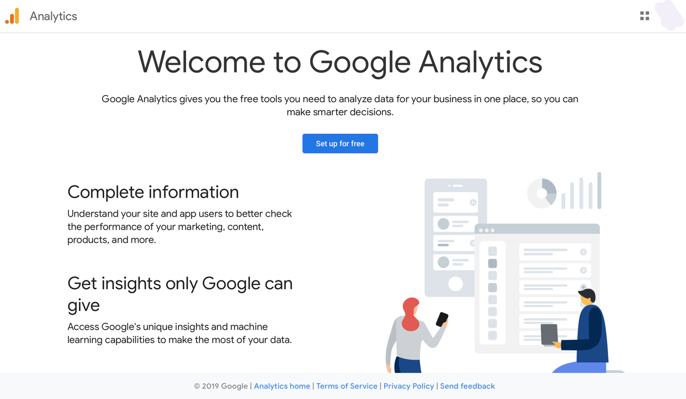 Google Analytics Welcome page to set it up for free