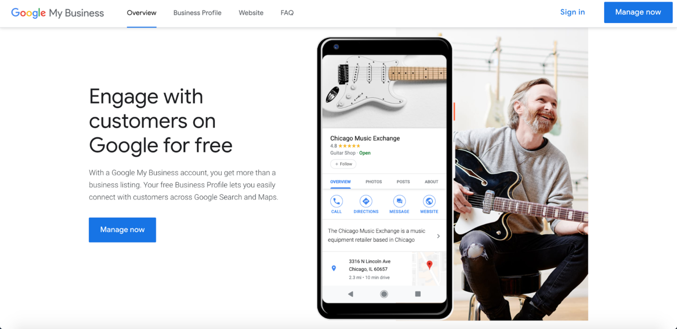example of google my business sign up page
