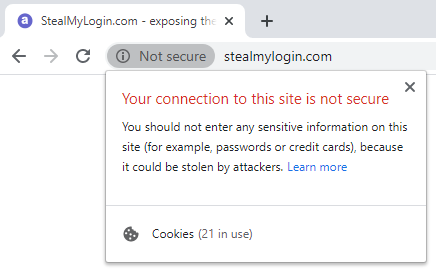 website saying that it is not secure