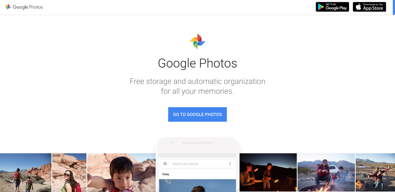 Google Photos website landing page