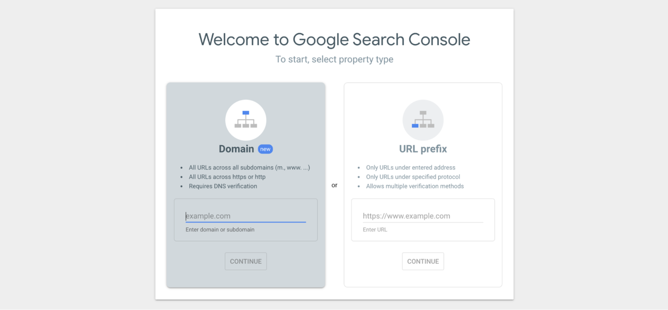 google's search console sign up page