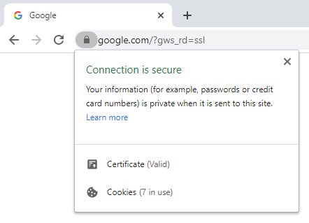 website showing that it is secure