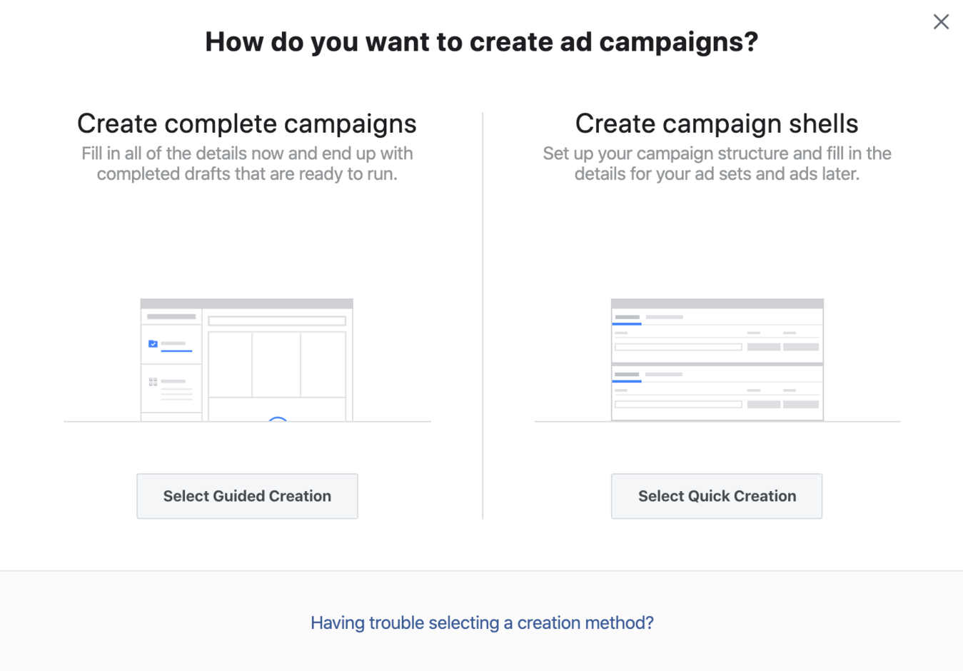 Guided or Quick Ad Creation on Facebook Ads' Manager