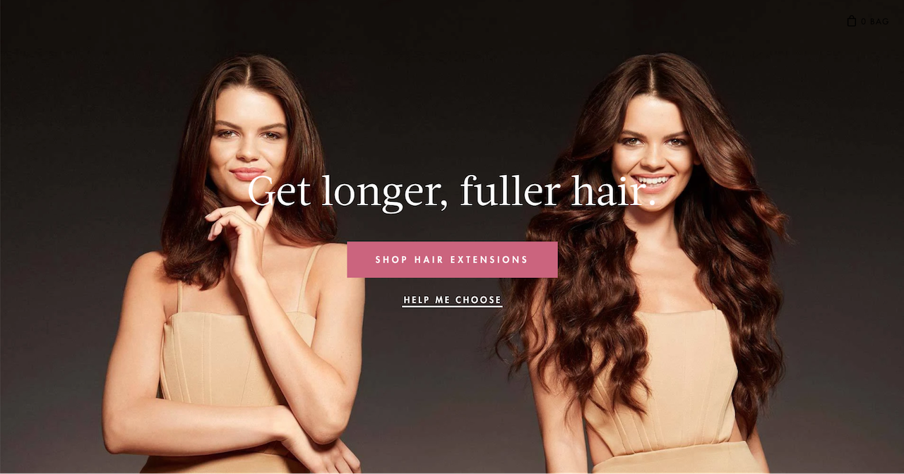 ad for longer and fuller hair with a photo of a girl with short hair and long hair
