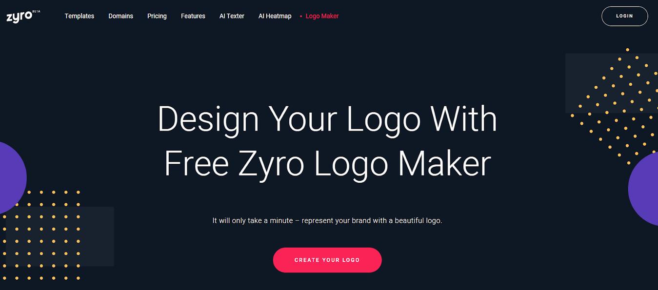 Zyro Logo Maker's landing page