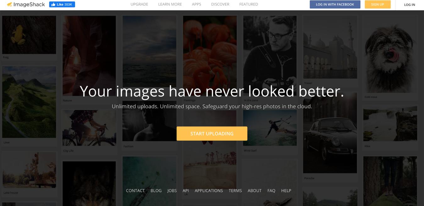 ImageShack website landing page