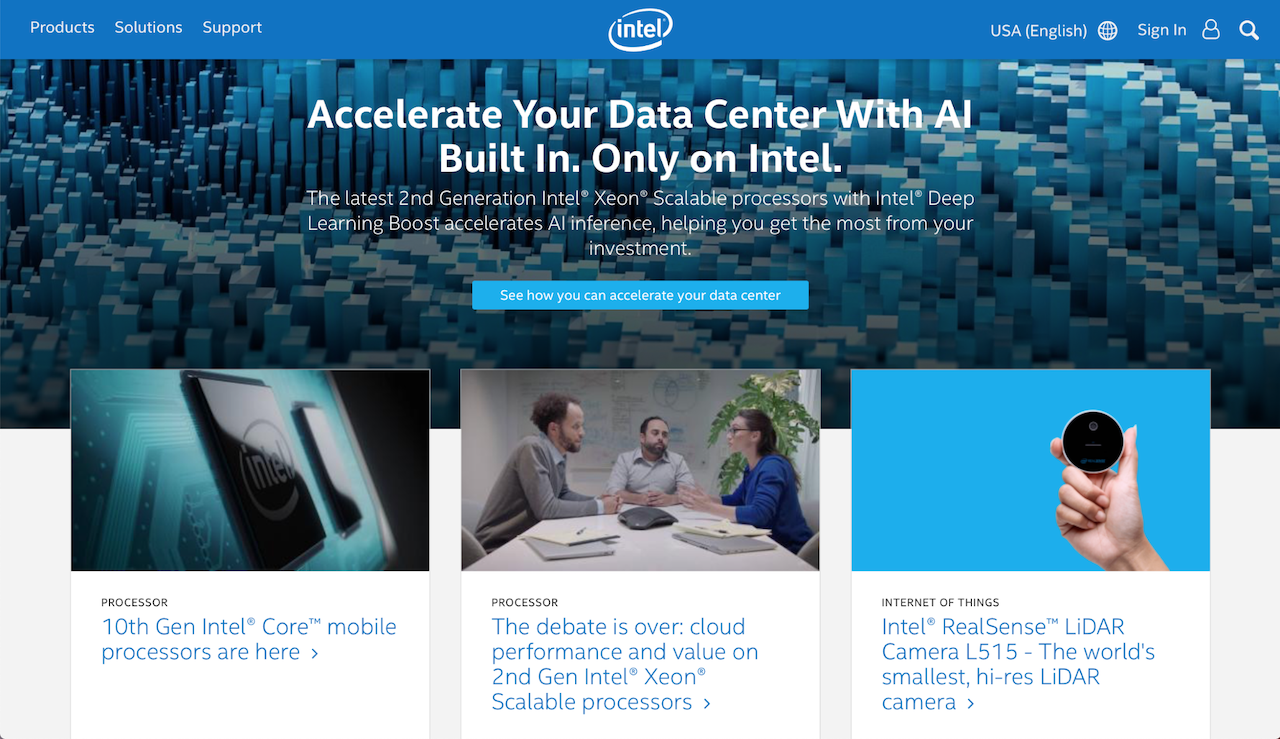 intel's website sign in page with shades of blue and blogs