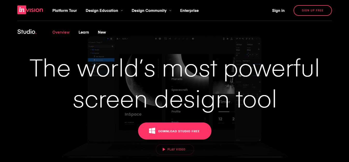 InVision studio homepage