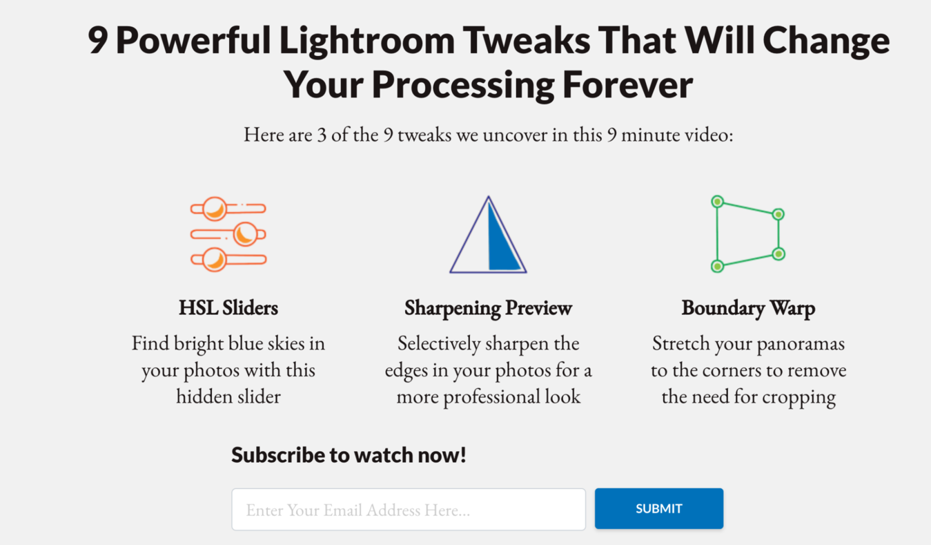 Subscribe button to learn about powerful lightroom tweaks