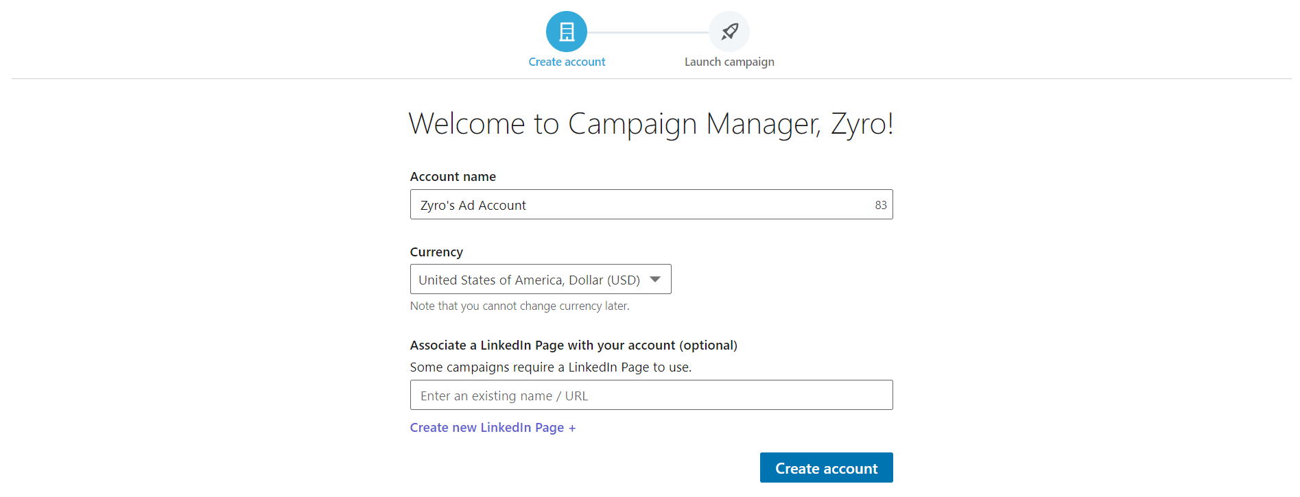 LinkedIn Campaign Manager's welcome page