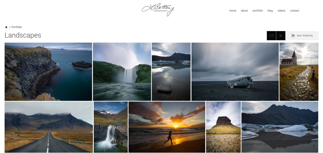 Lisa Bettany photography website example