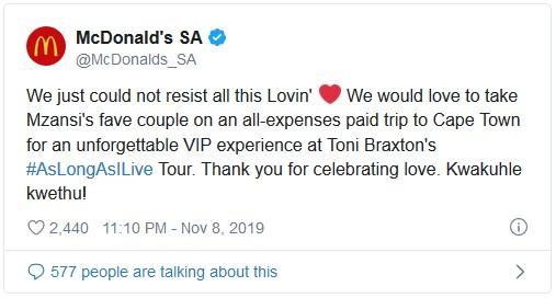 McDonalds Tweet to show social media marketing
