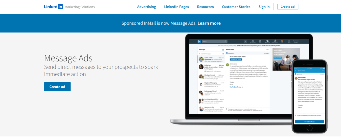 Message Ads page on LinkedIn advertising