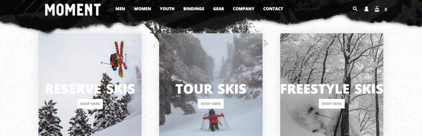 Moment Skis website showing skiers on whiteout  mountains