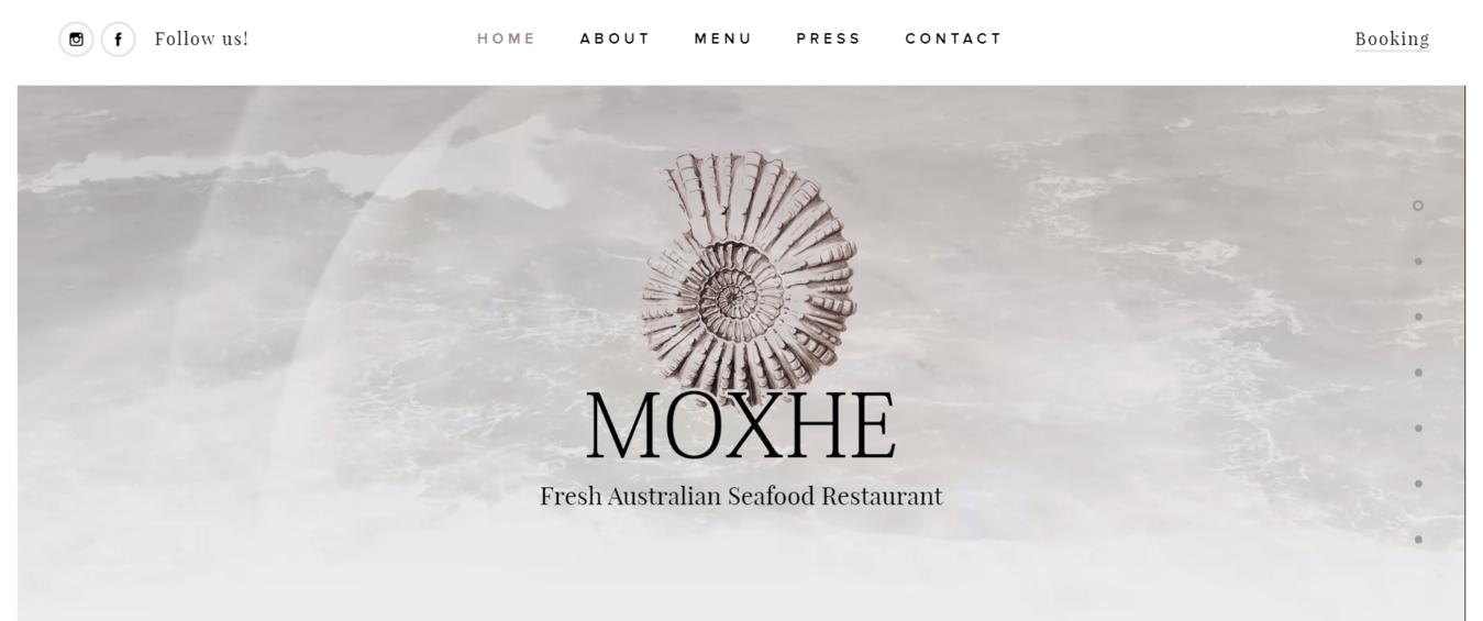 Moxhe website showing a simple seashell
