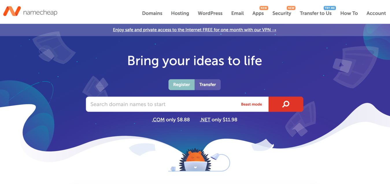 Screenshot der Namecheap Hosting-Website