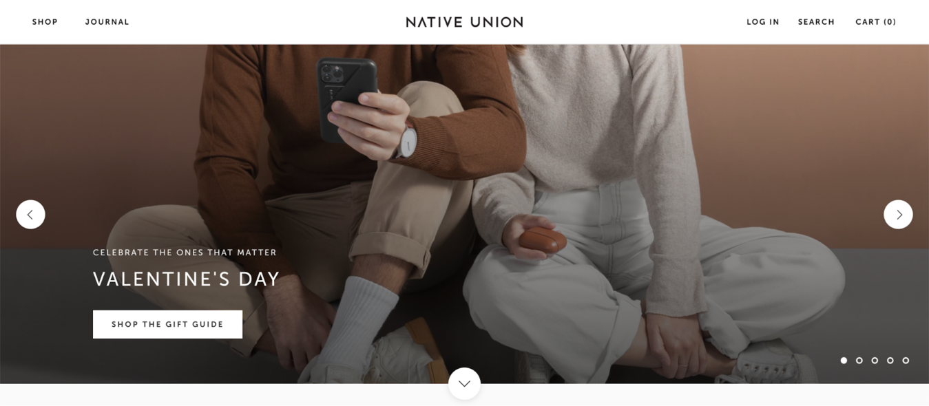 Native Union website for a small business website example