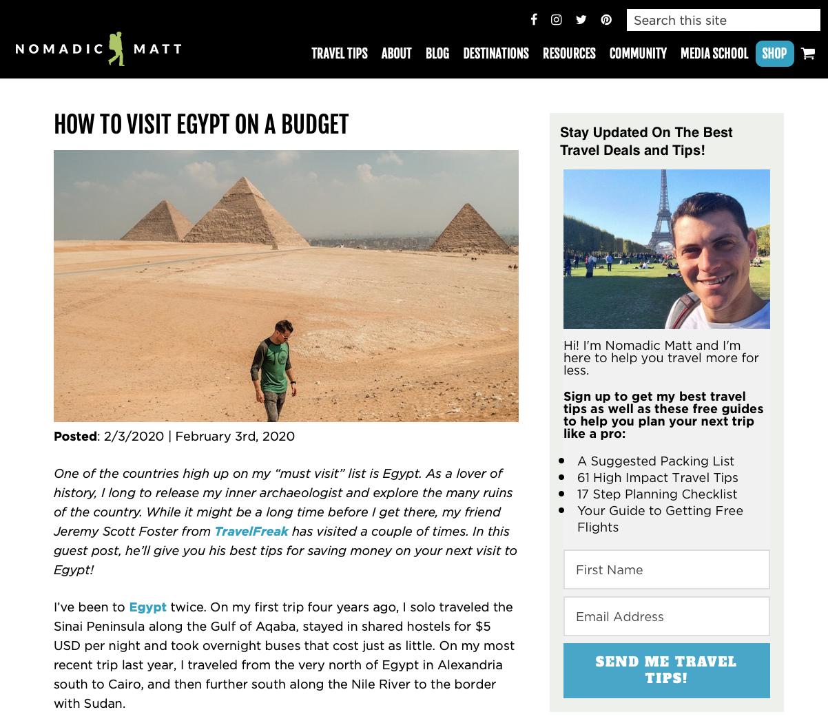 Conversion Rate Optimized Blog Sidebar by Nomadic Matt