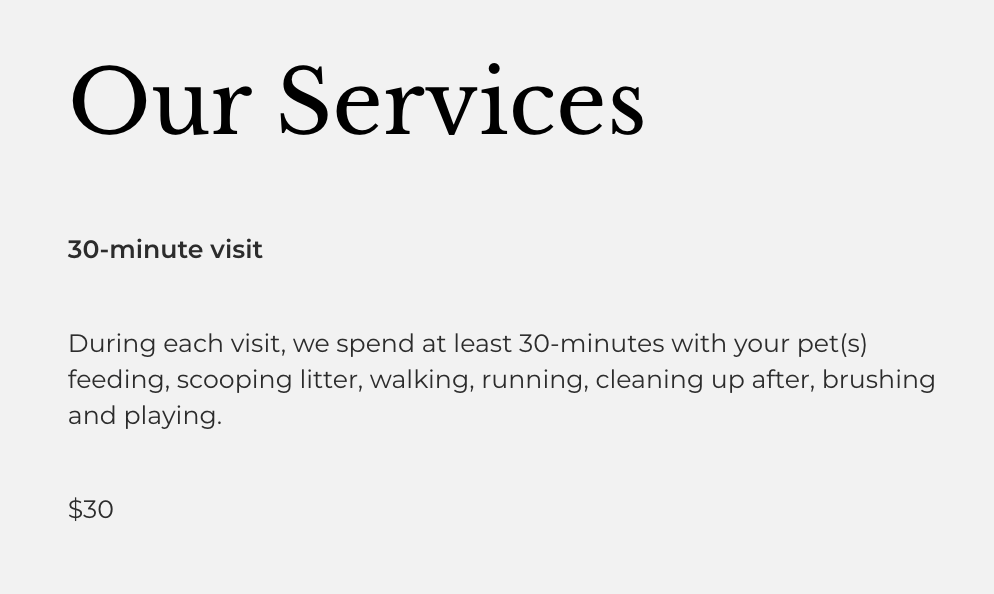 our services website example
